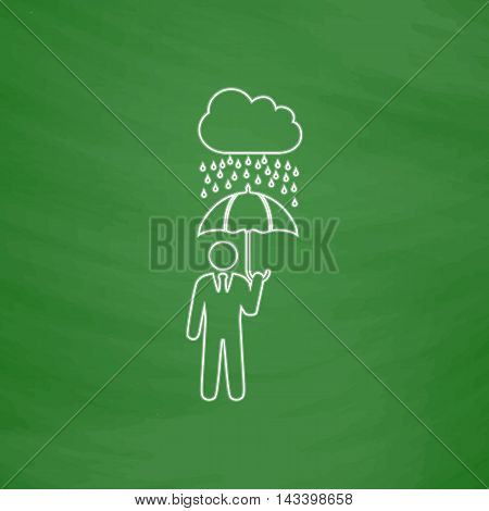 Rainy Outline vector icon. Imitation draw with white chalk on green chalkboard. Flat Pictogram and School board background. Illustration symbol