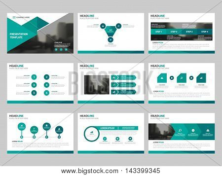 Green triangle presentation templates Infographic elements template flat design set for annual report brochure flyer leaflet marketing advertising banner template