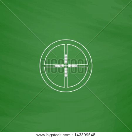 Crosshair Outline vector icon. Imitation draw with white chalk on green chalkboard. Flat Pictogram and School board background. Illustration symbol