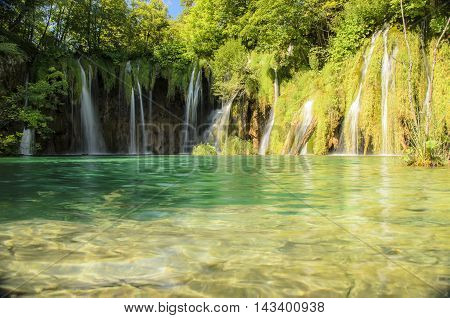 landscape of plitvicka lake national park at sunset unesco heritae site plitvice croatia.