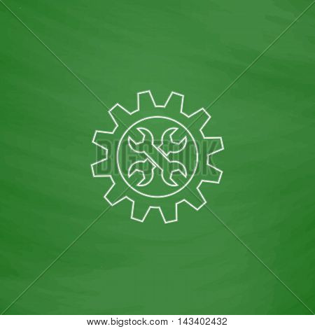 Service Outline vector icon. Imitation draw with white chalk on green chalkboard. Flat Pictogram and School board background. Illustration symbol