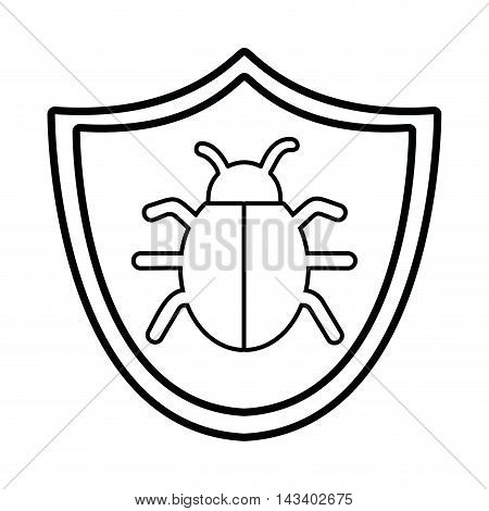 shield bug cyber security system technology icon. Silhouette isolated and flat design. Vector illustration