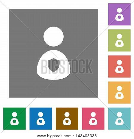 Security guard flat icon set on color square background.