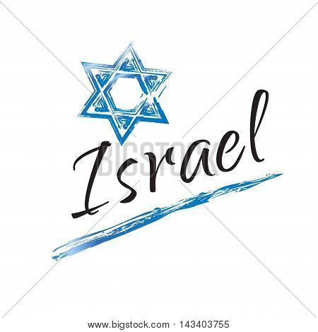 Star of David Israel symbol, calligraphy lettering. Blue and white color, star of David on white background. Vector Illustration for Independence Day, Israel national holiday.