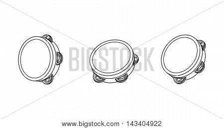 Kids Musical Tambourine, Wooden Educational Toy, Beat Instrument, Hand Drum, Children's toy. Black and white Illustration on white background.