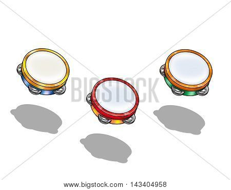 Kids Musical Tambourine, Wooden Educational Toy, Beat Instrument, Hand Drum, Children's toy, Kids. Illustration isolated on white background. For Art. Print, Fashion, Textile, Web, Holiday design.