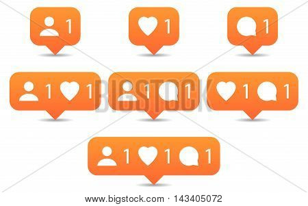 Like follow comment icons in flat style. Orange notification tooltip with heart user speech bubble counter and shadow on white background. Set 02. Vector illustration web design element 8 eps