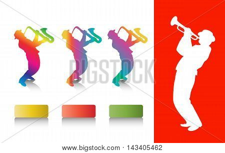 Jazz musicians. Jazz music festival. Saxophonist colorful silhouettes. Music Illustration, flayer. Web site template. Brochure design. Vector advertising.