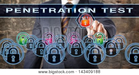 Corporate software tester pushing PENETRATION TEST on an interactive screen. Information security concept for the process of trouble shooting for potential vulnerabilities risks and cyber attacks.