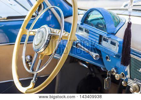 Dashboard And Steering Wheel Of Retro Car On Gaz21 Avtoarena In Cheboksary,
