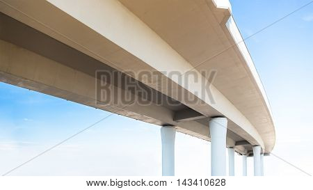 Underside of an elevated road on the sky background