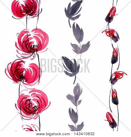 Watercolor and ink illustration of red flowers buds and leaves. Oriental traditional painting in style sumi-e gohua. Decorative seamless patterns.