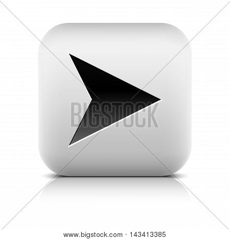 Web icon with black arrow sign. Series in a stone style. Rounded square button with shadow reflection on white background. Vector illustration graphic design element save in 8 eps