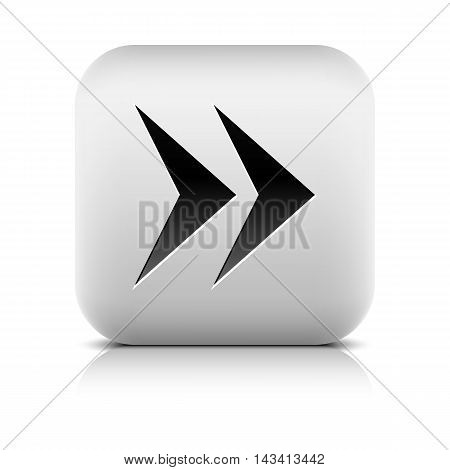Web icon with arrow sign. Rounded square button with black shadow gray reflection on white background. Series in a stone style. Vector illustration graphic clip-art design element in 8 eps