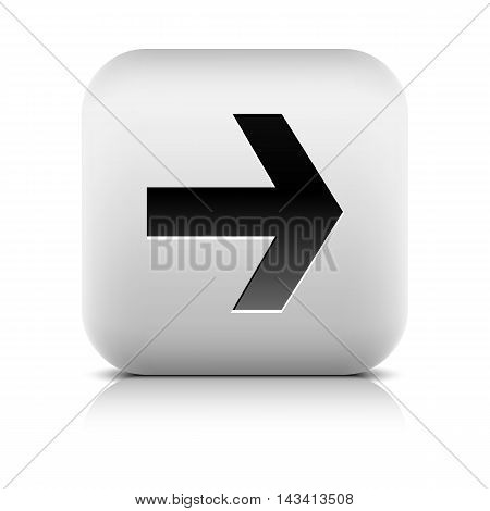 Gray icon with black arrow sign. Rounded square button with shadow reflection on white background. Series in a stone style. Vector illustration design element save in 8 eps