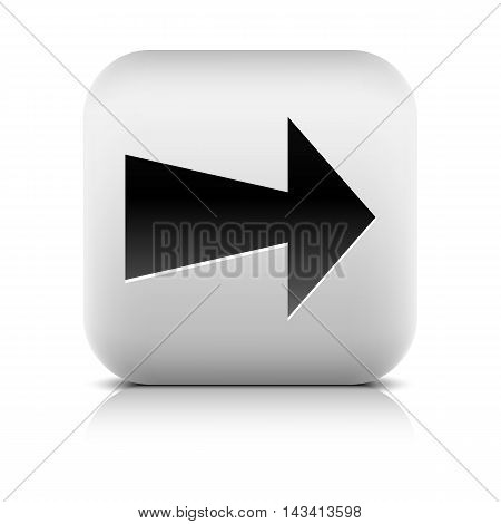 Gray icon with black arrow sign. Series in a stone style. Rounded square button with shadow reflection on white background. Vector illustration design element save in 8 eps
