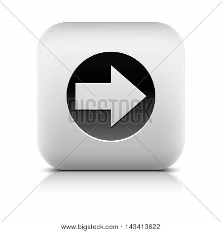 Web icon with arrow sign in circle. Rounded square button with black shadow gray reflection on white background. Series in a stone style. Vector illustration graphic internet design element in 8 eps