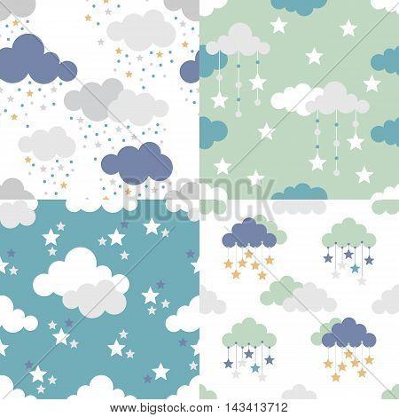 Scandinavian seamless kids pattern. Newborn seamless patterns. Kids background. Textile background. Wrapping texture. Stock vector.