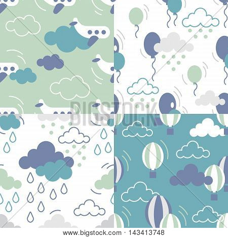 Scandinavian seamless kids pattern. Newborn seamless patterns. Kids background. Textile background. Wrapping texture. Stock vector.