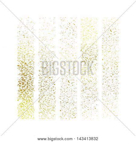 Gold spray paint splatter. Spray paint Isolated on white background. Various spray paint decorative splatters. Vector spray splatter easy recolor.