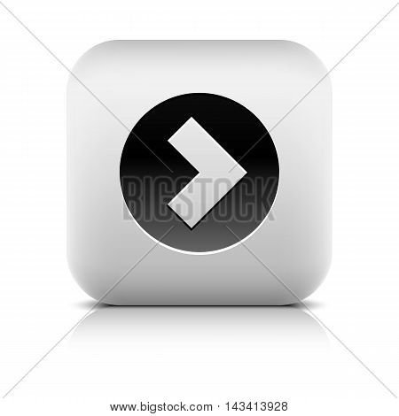 Web Icon with arrow sign in black circle. Rounded square internet button with shadow reflection on white background. Series in a stone style. Vector illustration design element in 8 eps
