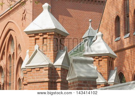 Poland Gliwice detail of Disused Restored Funeral House at Jewish Cemetary currently a museum