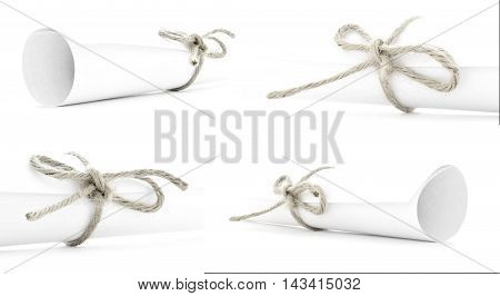 White paper scrolls tied with natural ropes and nodes, collection