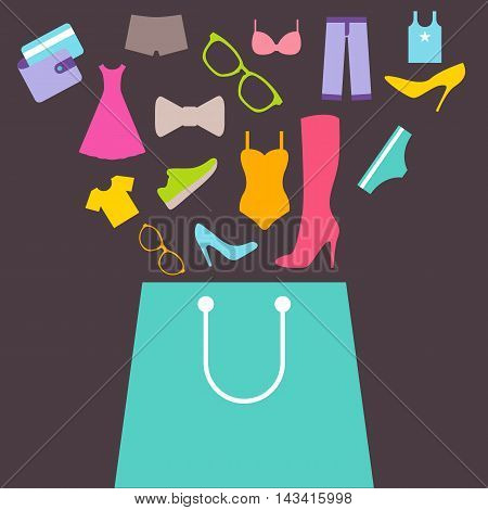 Shopping bag with purchase. Purchase of clothes and footwear. Flat design vector background