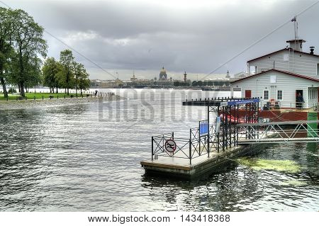 SAINT - PETERSBURG RUSSIA - July 20.2016: Moorage for excursion cutters in the Kronverksky channel next to the river Neva