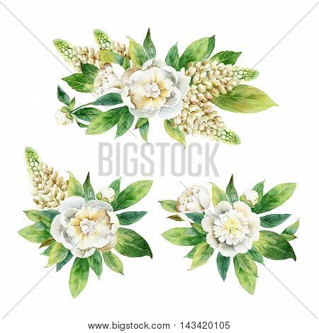 Set boutonnieres with peony and lupine isolated on white background. Watercolor illustration