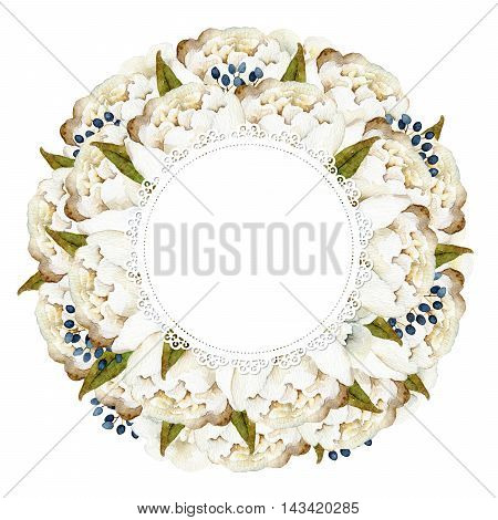 Round composition with white peonies isolated on white background. Watercolor illustration