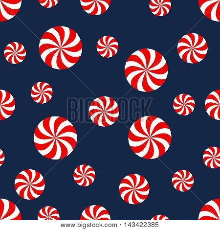 Seamless Christmas pattern with candy. Happy New Year and Merry Xmas background. Vector winter holidays print for textile, wallpaper, fabric, wallpaper.