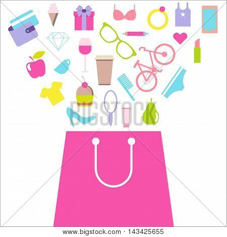 Shopping for women, female purchases. Bag with consumer goods. Flat design vector illustration isolated on white background.