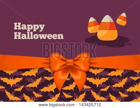 Halloween Postcard Design with Orange Silky Bow Ribbon and Bats Pattern. Vector Illustration. Candy Corn Traditional Sweets.