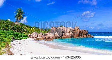 beautiful tropical  beach Anse Cocos, La Digue island, Seychelles