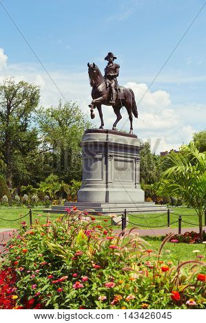 George Washington Statue in Boston Public Garden. Boston Massachusetts USA