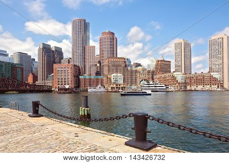 Boston Harbor and Financial District. Boston- Massachusetts USA