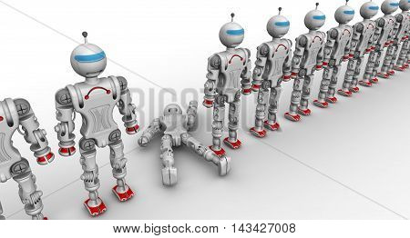 Defective robot. Humanoid robots standing in a row on a white surface and a faulty robot. Isolated. 3D Illustration