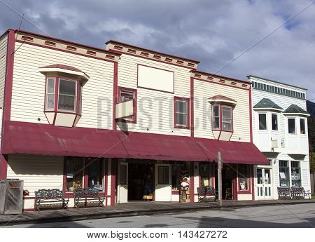 The main street of Skagway town the place where gold rush started in Alaska.