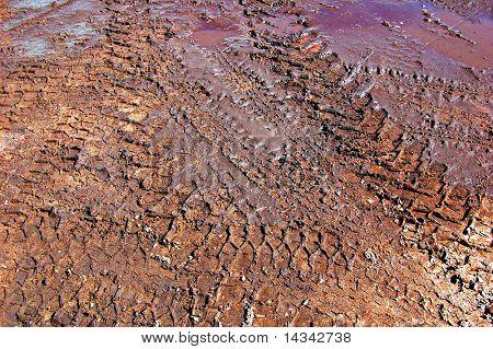 Tyre tracks in mud