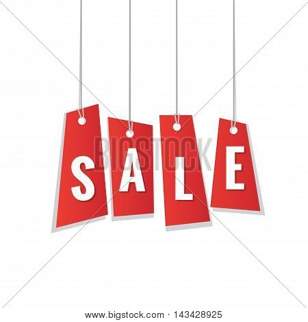 Red Sale Tag Hanging Mobile Heading Design On White Backdround For Banner Or Poster. Sale And Discou