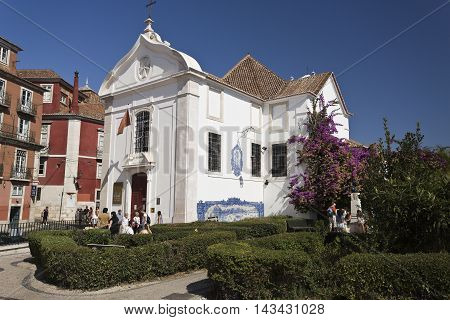 LISBON, PORTUGAL - September 30, 2015: View of the Church of Santa Luzia of the Sovereign Military Hospitaller Order of St John of Jerusalem of Rhodes and of Malta on September 30, 2015 in Lisbon, Portugal