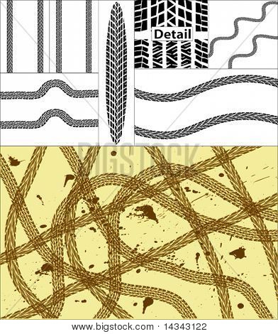 Vector design and elements of tire tracks with grunge on separate layer