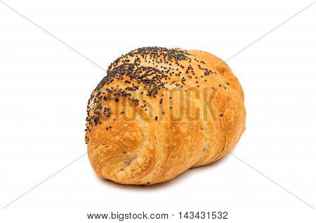 small buttery golden croissant isolated on white background
