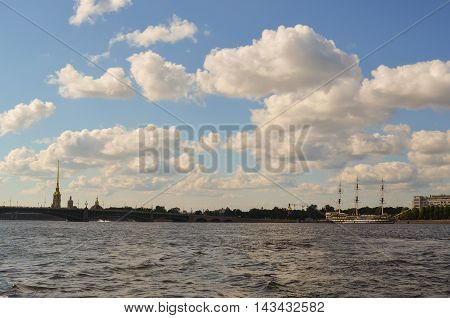 Saint Petersburg, Russia - August 15, 2012 - View on the river Neva with cathedral Peter and Paul and sailfish. Summer landscape. Post processed, selective focus.