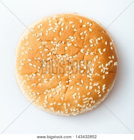 Close-up Of Burger Bun With Sesame Seeds