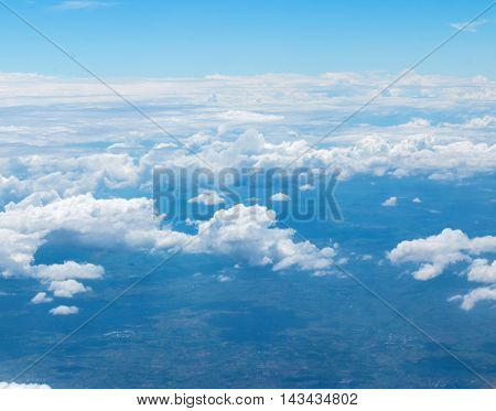 Photos from the clouds in the skyView from window plane .
