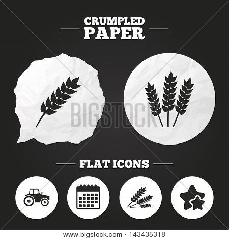Crumpled paper speech bubble. Agricultural icons. Wheat corn or Gluten free signs symbols. Tractor machinery. Paper button. Vector