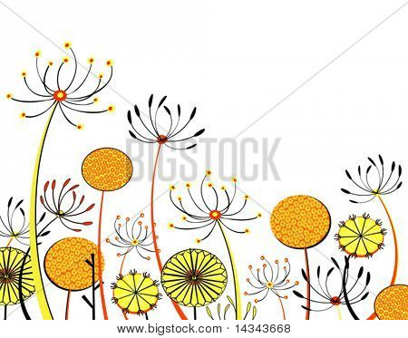 Editable vector illustration of generic umbellifer flowers with each flower a separate object