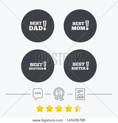 Best mom and dad, brother and sister icons. Award with exclamation symbols. Chat, award medal and report linear icons. Star vote ranking. Vector